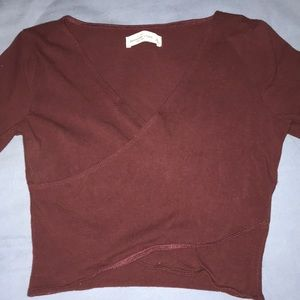 Abercrombie Burgundy Wrap long sleeve Crop Small